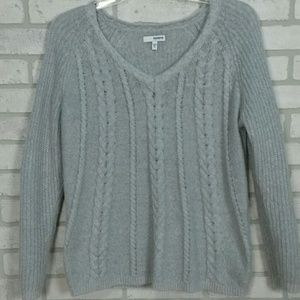 Sonoma Sweaters - Sonoma V-neck Cable Knit Sweater Lt Gray PL